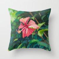 hibiscus Throw Pillows featuring Hibiscus by Katie Lillard Art