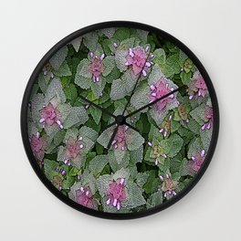 WILD SALVIA MAUVE AND GRAY GREEN Wall Clock