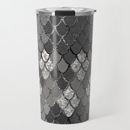Mermaid Scales Silver Gray Glitter Glam #1 #shiny #decor #art #society6 Travel Mug