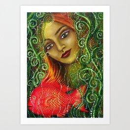 Mermaid and Fish Art Print