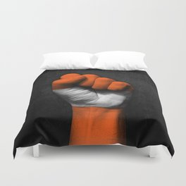 Austrian Flag on a Raised Clenched Fist Duvet Cover