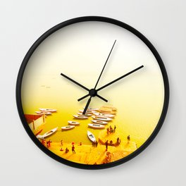 Golden shores of the Ganges river Wall Clock