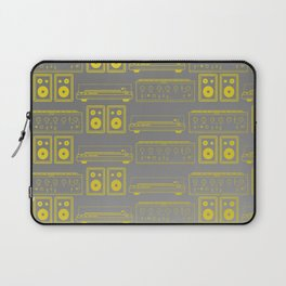 70's Record Player, Amplifier and Speakers in yellow and grey Laptop Sleeve