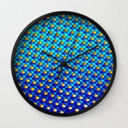 Ocean Blue Mermaid Scales -Beautiful Abstract Glitter Pattern Wall Clock