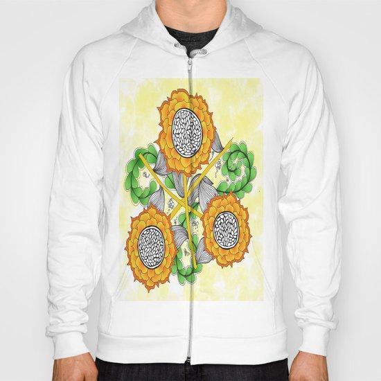 Zentangle Happy Yellow and Orange Sunflowers Hoody