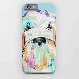 Doodle painted dog colorful artwork  iPhone Case