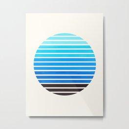 Cerulean Blue Mid Century Modern Minimalist Scandinavian Colorful Stripes Geometric Pattern Round Ci Metal Print