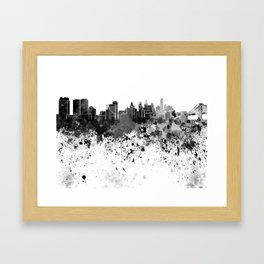 Philadelphia skyline in black watercolor Framed Art Print