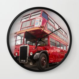 Old Red London Bus Vintage transport Wall Clock