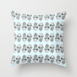 Light Blue Pineapple Print Throw Pillow