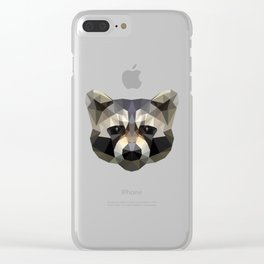 Low poly trash panda Clear iPhone Case