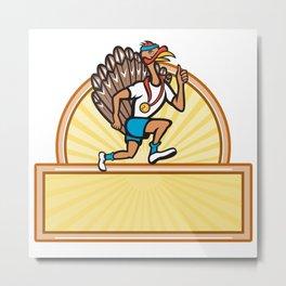 Turkey Run Runner Side Cartoon Isolated Metal Print