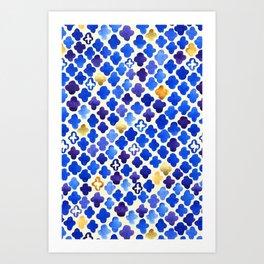 Rustic Watercolor Moroccan in Royal Blue & Gold Art Print