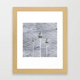 F22 Stealth Fighters Climbing in Clouds Framed Art Print