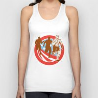 crossfit Tank Tops featuring American Crossfit Runners USA Flag Circle Retro  by patrimonio