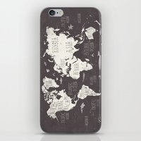 gray iPhone & iPod Skins featuring The World Map by Mike Koubou