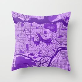 Burnaby - Canada Lavender City Map Throw Pillow
