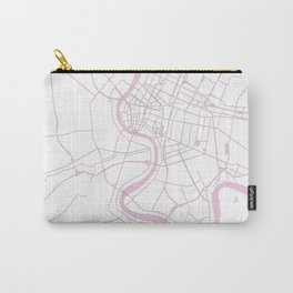 Bangkok Thailand Minimal Street Map - Pastel Pink and White II Carry-All Pouch
