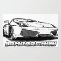 lamborghini Area & Throw Rugs featuring Lamborghini line drawing by JT Digital Art