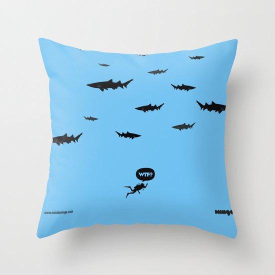 WTF? Tiburones! Throw Pillow