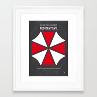 resident evil Framed Art Prints featuring No119 My RESIDENT EVIL minimal movie poster by Chungkong