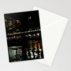 Chicago El and River at Night Stationery Cards