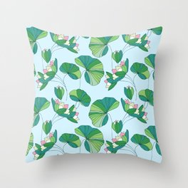 Stylized green and pink flowers pattern Throw Pillow