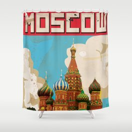 Moscow Vintage Poster Shower Curtain