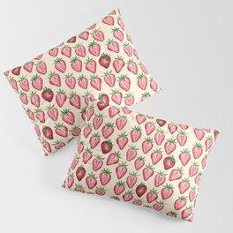 Watercolor Strawberries on Cream Pillow Sham