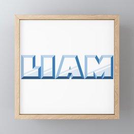 """LIAM"" first name blue pattern Framed Mini Art Print"