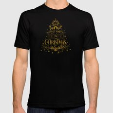 Holly Jolly Christmas- Gold Glitter Typography Mens Fitted Tee MEDIUM Black