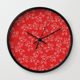 Sweet Red White Christmas Ginger Bread Man Wall Clock