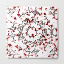 Alien Mandala Silver and Red Plasma Metal Print