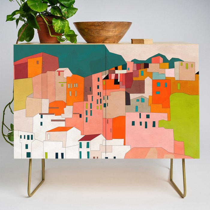 italy coast houses minimal abstract painting Credenza