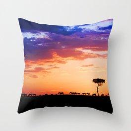 Zebras at Sunset, Masai Mara Throw Pillow