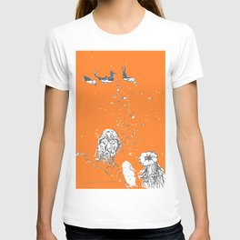 Two Tailed Duck and Jellyfish Orange T-shirt
