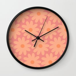 Crayon Flowers Cheerful Smudgy Pastel Floral Pattern in Apricot and Pink Wall Clock