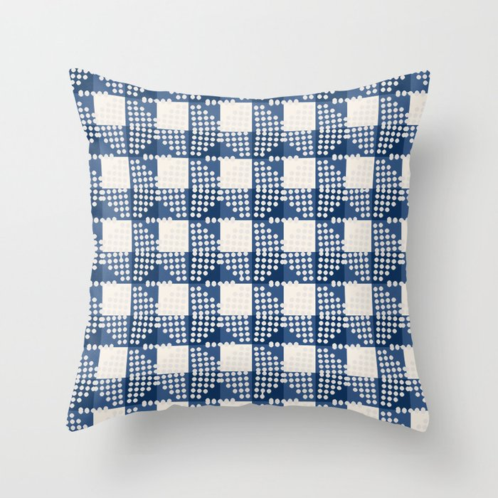 SEVILLE GINGHAM BLUE Throw Pillow