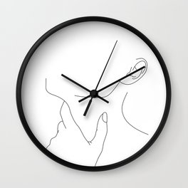 Hand on neck line drawing - Lo Wall Clock