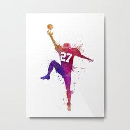 american football player man catching receiving silhouette Metal Print