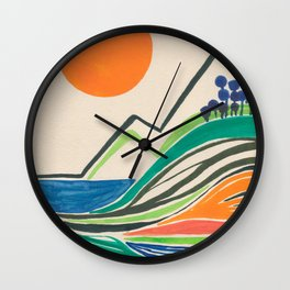 Landscape in many colours and lines Wall Clock
