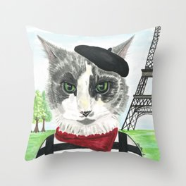 French Cat Mime in Paris Throw Pillow