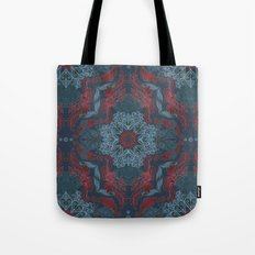 Vintage Fancy - a Pattern in Deep Teal & Red Tote Bag