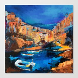Night Colors Over Riomaggiore - Cinque Terre Canvas Print