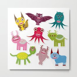 Sticker set Funny monsters collection on white background Metal Print