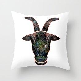 Goat Web Head 2 (Billy Goat) Throw Pillow