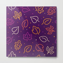Lovely fall leaves on purple background Seamless Pattern illustration Metal Print