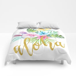 Hawaiian multicolored floral bouquet with faux gold aloha brush script Comforters