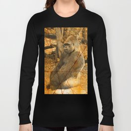 Magnificent Silverback Lowland Gorilla Grunge Photo with Vintage Effects Long Sleeve T-shirt