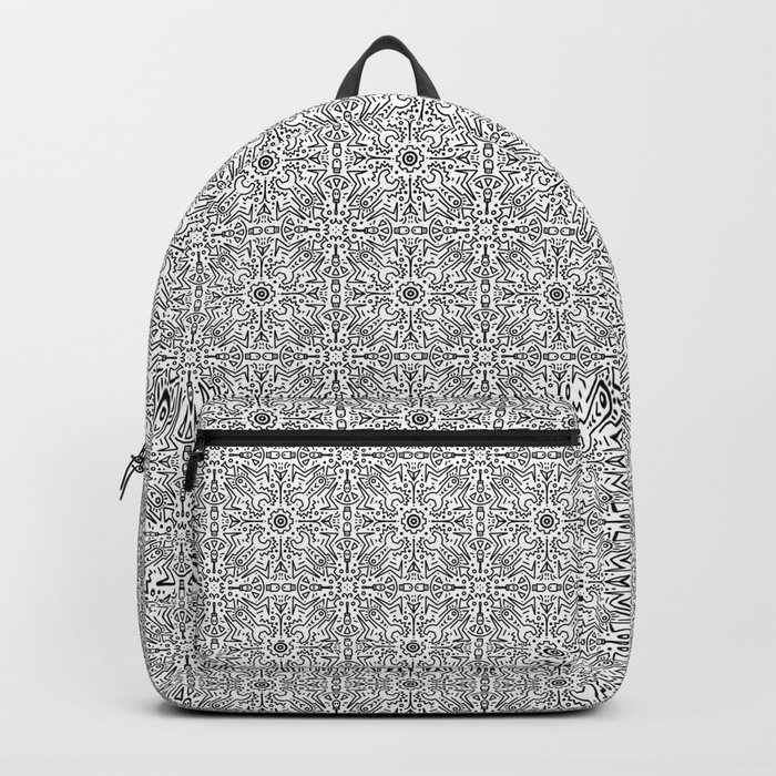 Techy doodles - symmetrical pattern - black and white tiles Backpack